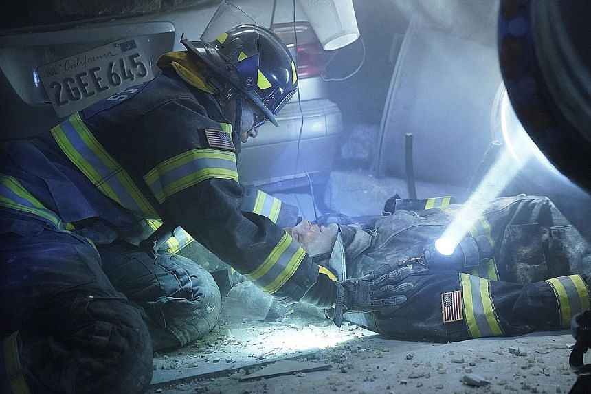 Above: Ryan Eggold plays a crusading doctor trying to fix a New York public hospital that is in a shambles in New Amsterdam. Right: Aisha Hinds in fireman gear tends to a victim in 9-1-1.