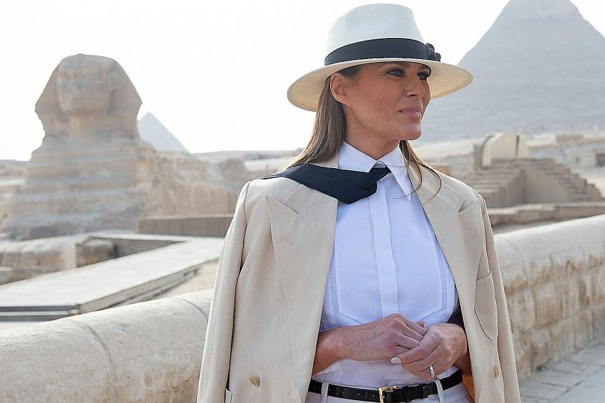 Nobody noticed the pyramids and the Sphinx. After photos of United States First Lady Melania Trump's visit to Egypt popped up last Saturday, netizens mostly zoomed in on her co-opting of fashion choices linked to pop icon Michael Jackson and movie ch