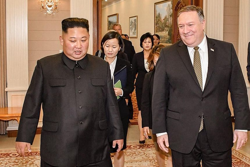 """US Secretary of State Mike Pompeo yesterday posted this photo of himself with North Korean leader Kim Jong Un on Twitter, saying, among other things, that """"we continue to make progress on agreements made at Singapore Summit""""."""