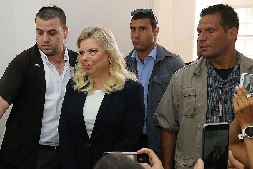 Mrs Sara Netanyahu in court yesterday. She has denied any wrongdoing, but if convicted, could face up to five years in jail.