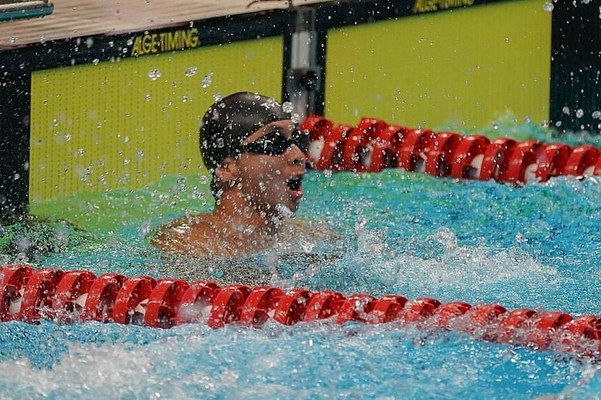 Toh Wei Soong after winning the 50m freestyle S7 final at the Asian Para Games in Jakarta last night.