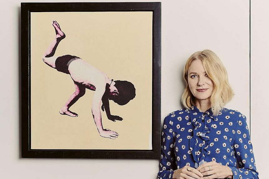 Including Scott Avett's Tumbling Boy (far left), actress Naomi Watts has purchased 20 art pieces since 2011.