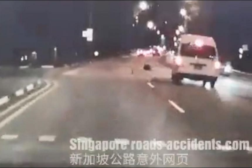 In a video of the accident, the pedestrian can be seen rolling on the ground after being hit by the van in Bedok Reservoir Road on Oct 6.