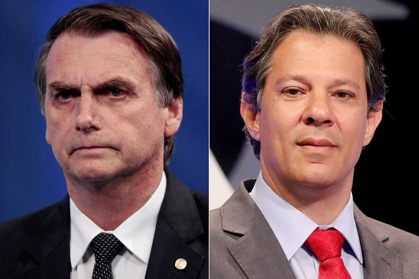 Former Army captain Jair Bolsonaro (left) will face leftist Fernando Haddad, the former mayor of Sao Paulo, in a second round of voting on Oct 28, 2018.