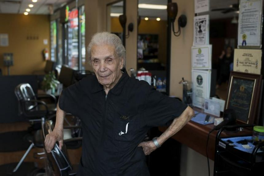 Anthony Mancinelli, 107, at his chair in Fantastic Cuts, a hair salon in New Windsor, in upstate New York.