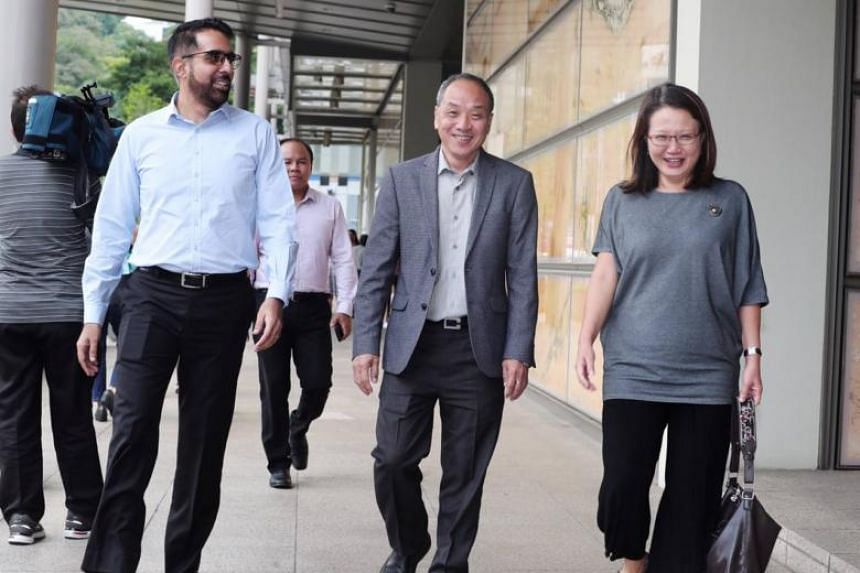 (From left) Workers' Party's Pritam Singh, Faisal Manap, Low Thia Khiang and Sylvia Lim, at the Supreme Court, on Oct 8, 2018. The court was told the town council and its MPs regularly went to the ground to ensure FMSS performed up to satisfaction.