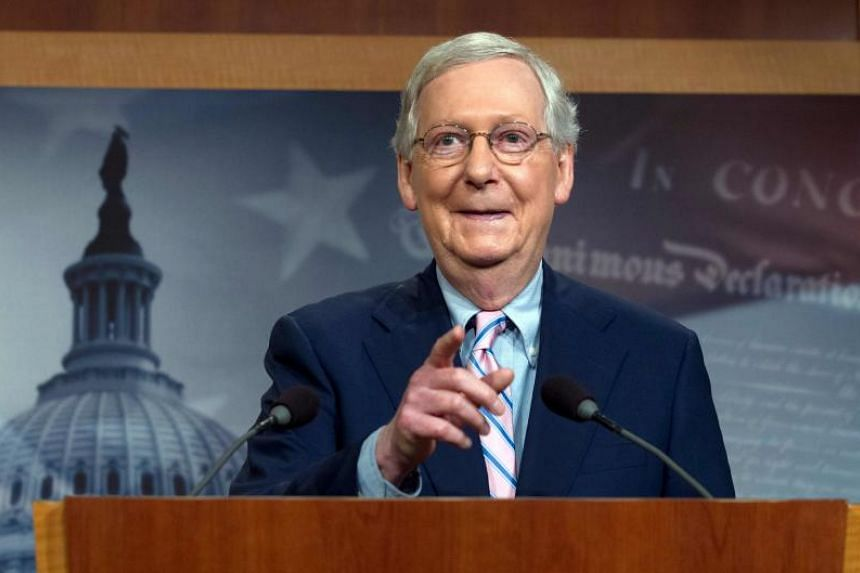 Senate Majority Leader Mitch McConnell at a news conference following the confirmation vote of Supreme Court nominee Brett Kavanaugh on Capitol Hill in Washington DC, on Oct 6, 2018.