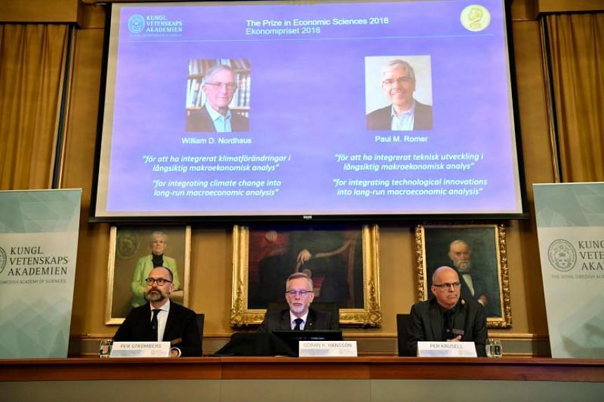 William Nordhaus and Paul Romer won the 2018 Nobel Economics Prize for integrating climate change and technological innovation into macroeconomic analysis.