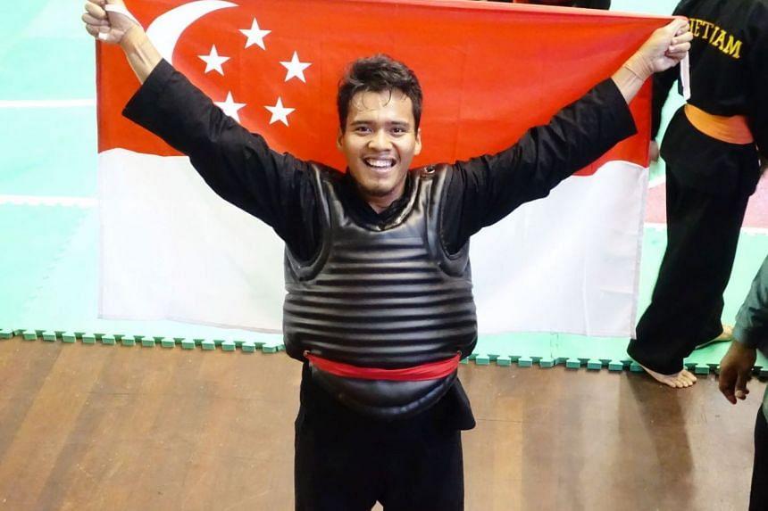 Muhammad Shakir Juanda after winning the 17th World Pencak Silat Championship in 2016. PHOTO: PERSISI