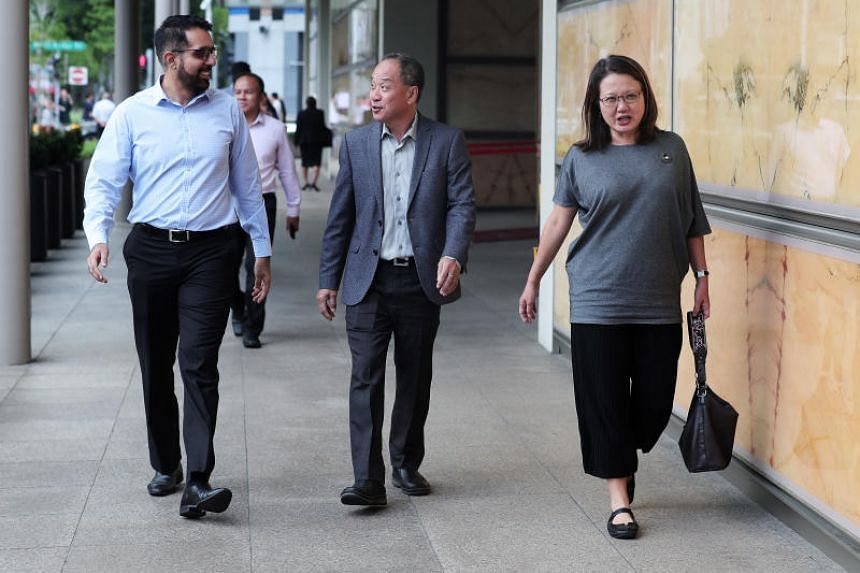 Workers' Party's Pritam Singh, Low Thia Khiang and Sylvia Lim at the Supreme Court on Oct 8, 2018. The court was told the town council and its MPs regularly went to the ground to ensure FMSS performed up to satisfaction.