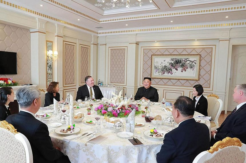 North Korean leader Kim Jong Un and US Secretary of State Mike Pompeo at the Paekhwawon State Guesthouse in Pyongyang.