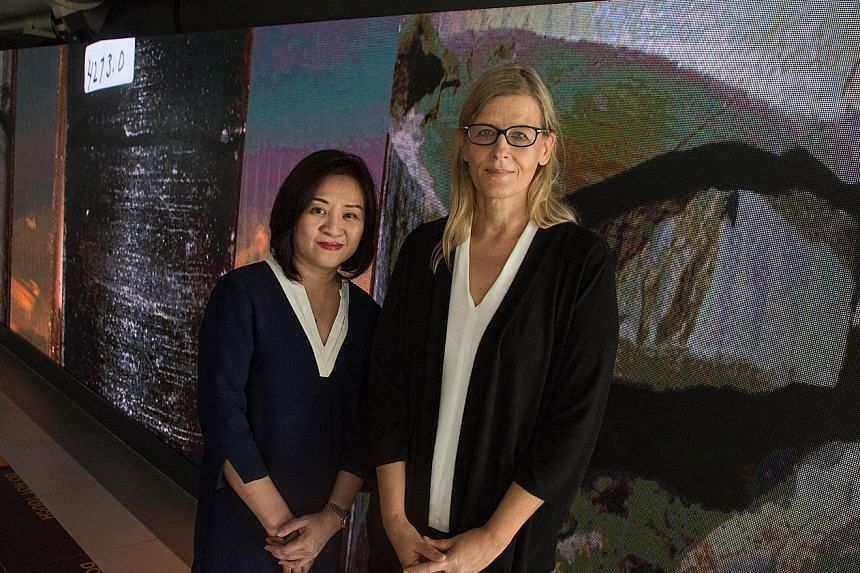 Nanyang Technological University's Associate Professor Ina Conradi (above right, with NTU Museum's deputy director Faith Teh) is in charge of the Media Art Nexus installation (top), a 2m by 15m LED wall that displays an array of media art.