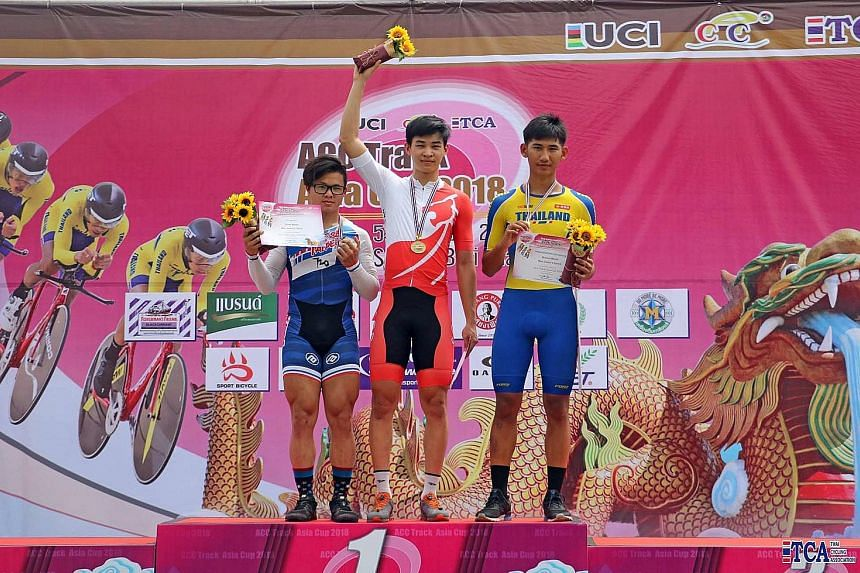 Singapore's Curtis Tan won the junior sprint at the Asian Cycling Confederation Track Asia Cup in Thailand on Saturday. He was second in the keirin and third in the 1km time trial in his final competition as a junior.