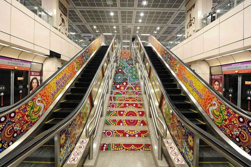 Little India MRT station will be decked out in similar fashion, with brightly coloured designs adorning the escalators.