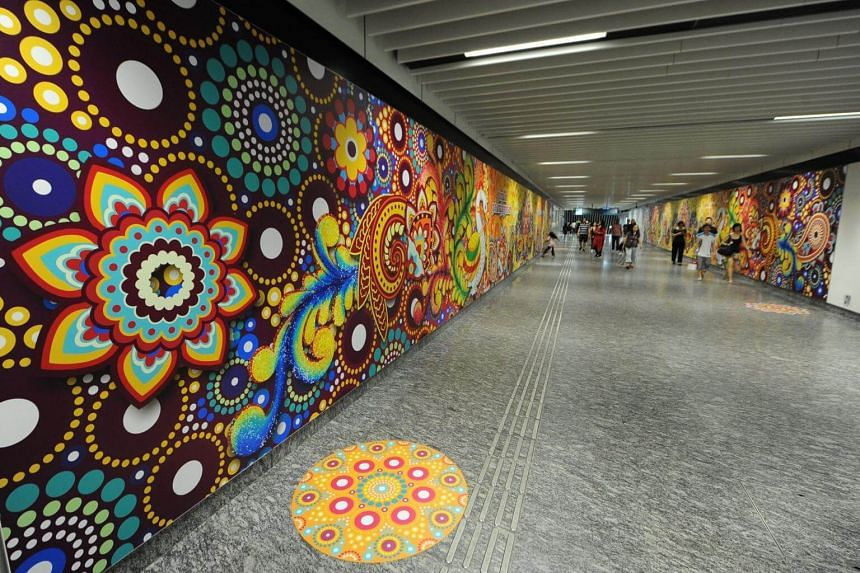 Little India MRT station will be decked out in similar fashion, with brightly coloured designs adorning the walkways.