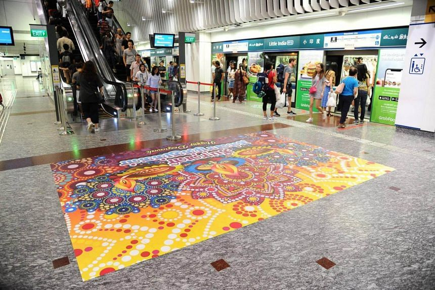 Little India MRT station will be decked out in similar fashion, with brightly coloured designs adorning the escalator areas.