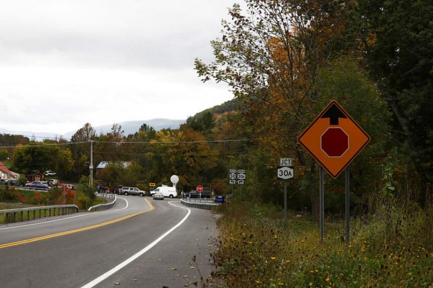 The road leading to the intersection where a limousine crashed outside the Apple Barrel Country Store in Schoharie, New York, on Oct 7, 2018.