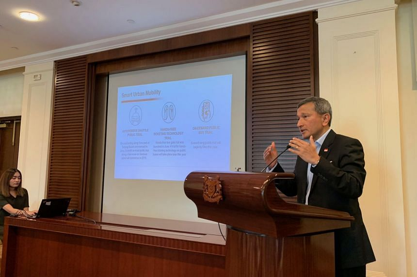 Dr Vivian Balakrishnan, Minister-in-charge of the Smart Nation Initiative, providing updates on Smart Nation projects on Oct 9, 2018.