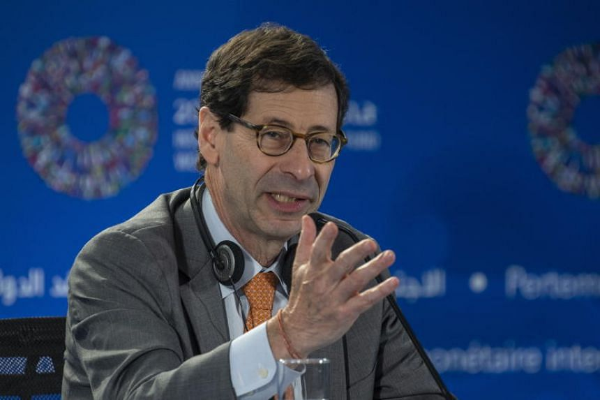 IMF chief economist Maurice Obstfeld speaks during the World Economic Outlook press conference at the International Monetary Fund (IMF) and World Bank annual meeting in Bali, Indonesia, on Oct 9, 2018.
