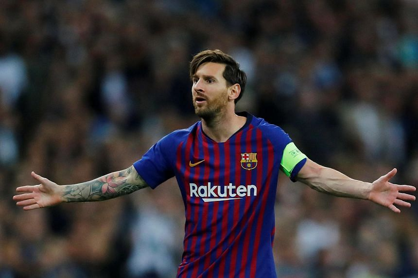 Barcelona's Lionel Messi gestures during the match against Tottenhan Hotspur at Wembley Stadium in London, on Oct 3, 2018.