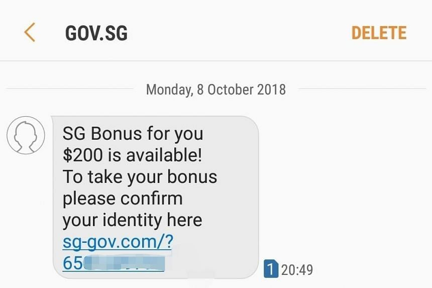 A fake message with the sender's name listed as Gov.sg has been circulating around. Red flags in this message include the sender's name, the different URL and the lack of the recipient's NRIC number.