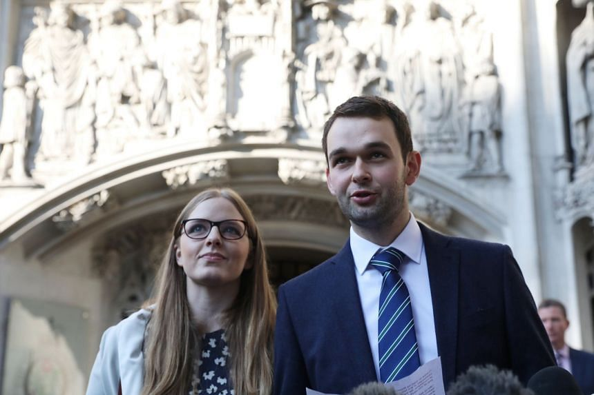 Daniel and Amy McArthur, who own Ashers Bakery in Belfast, speak as they leave the Supreme Court in London.