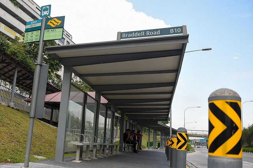 The bus stop in Braddell Road from which Tan Ke Wei dismantled a grey metal bench. He then wrapped it in a garbage bag and took it home. He intended to renovate his new flat with a bus stop design concept.