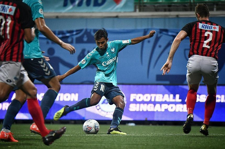 Adam Swandi on his way to scoring Albirex's second goal in their 4-1 win over Brunei DPMM in last Saturday's Singapore Cup final at the Jalan Besar Stadium. He has impressed the club so much that they are looking at having four local players, and per