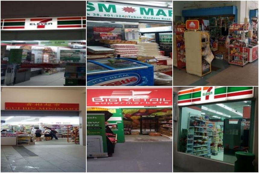 The suspended tobacco retailers include (clockwise from top left) 7-Eleven at 639 Punggol Drive, SM Mart, Ibrahim Trading, 7-Eleven at 319A Anchorvale Drive, Big Retail Supermarkets and Gui Bin Minimart.