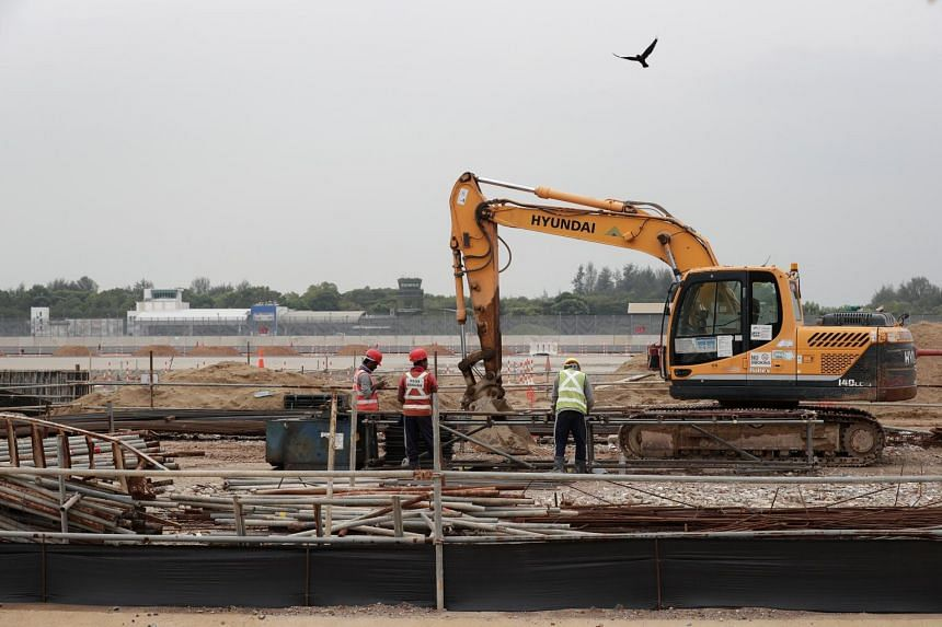 The Changi East construction site near Changi Airport on Oct 9, 2018. Major tunnelling works will start in 2019 and the construction of Terminal 5 will begin by 2020.