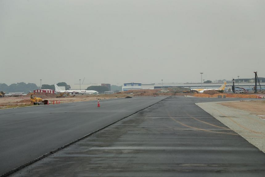 A completed taxiway as seen during a media visit to the Changi East development site on Oct 9, 2018.
