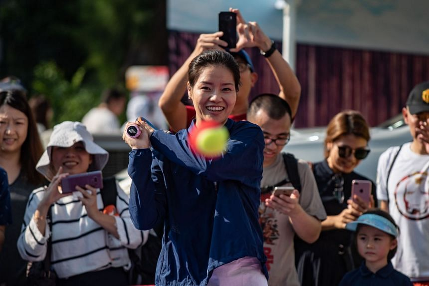 Retired Chinese player Li Na during a tennis event for children in Hong Kong on Oct 7, 2018. The two-time Grand Slam champion retired in 2014.