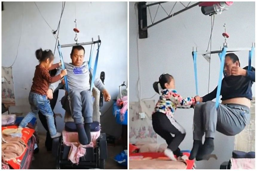 Six-year-old Jia Jia instantly became an online sensation for taking care of her paralysed dad Tian Haicheng.