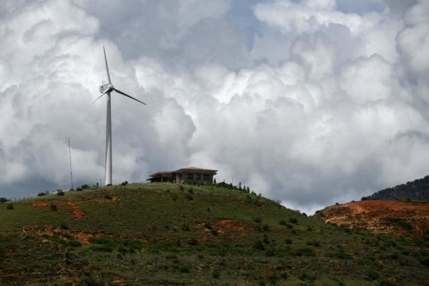 One of Bhutan's first wind turbines is pictured in Rubesa village in Wangdue Phodrang.