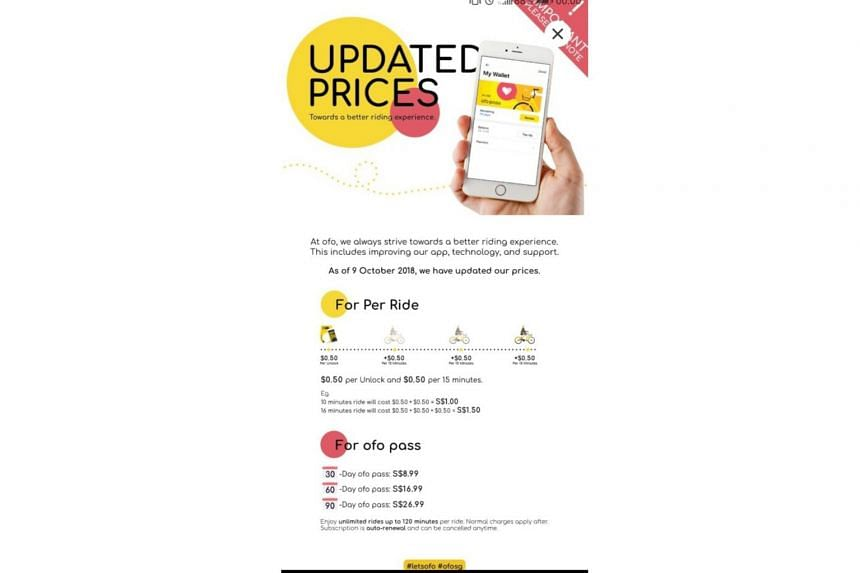 A screenshot of the ofo app with the Oct 9, 2018 announcement on the price hikes for renting the company's shared bicycles.