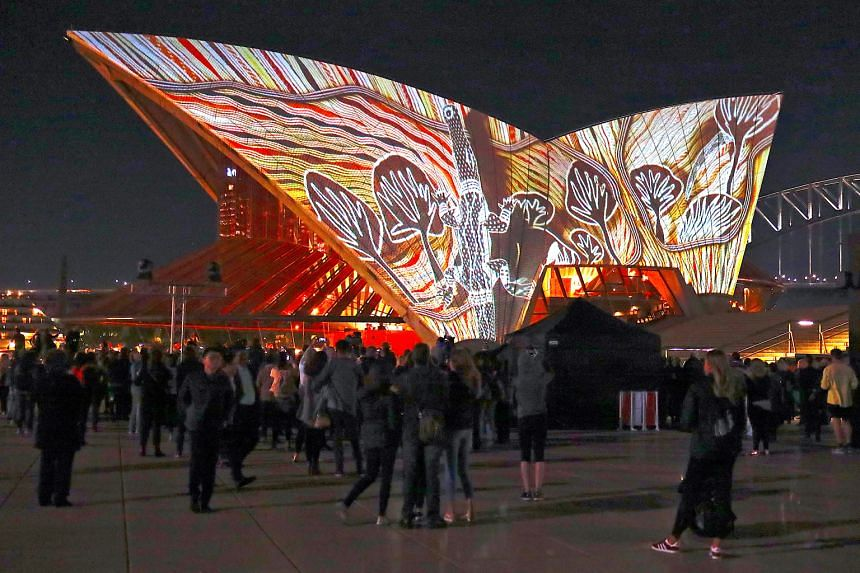 Images are regularly projected onto the Sydney Opera House, such as this series of Australian Aboriginal paintings in July.