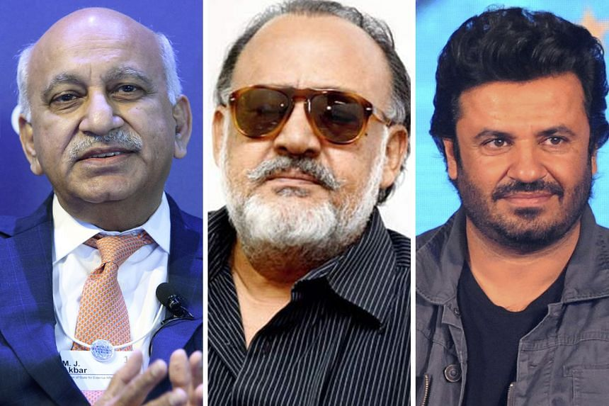 From left: Minister of State for External Affairs M. J. Akbar, actor Alok Nath, film director Vikas Bahl, author Chetan Bhagat and comedian Utsav Chakraborty are among those accused of harassment.