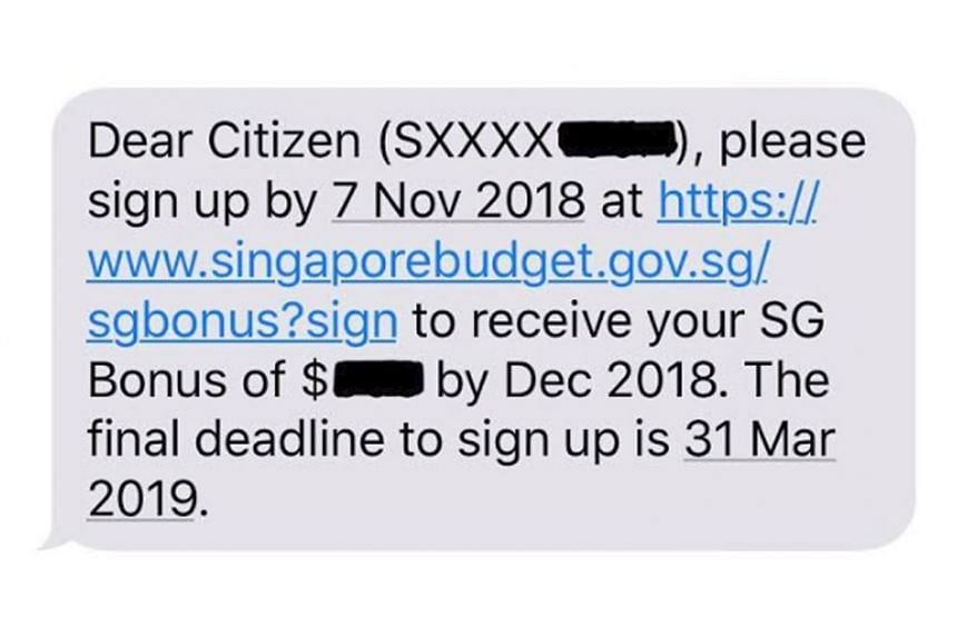The legitimate text message would have its sender listed as SG-Bonus or SGBonus, and will not ask for any information, said the MOF.