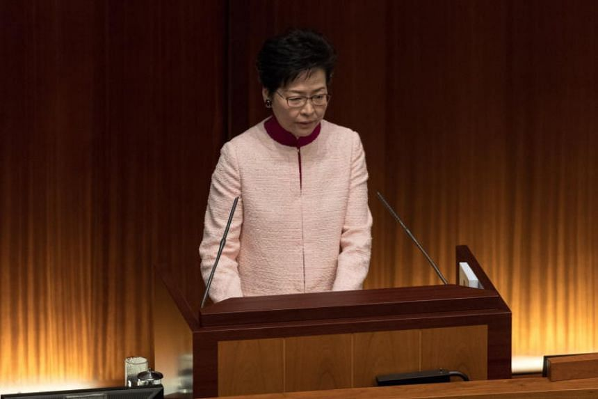 Hong Kong's chief executive Carrie Lam addressing lawmakers in the Legislative Council in Hong Kong, on Oct 10, 2018.