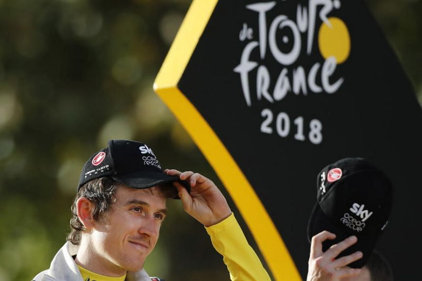 Team Sky's Geraint Thomas after winning the 105th Tour de France cycling race on July 29, 2018. His trophy was stolen when it was left unattended briefly while on display at an event in Birmingham, England.