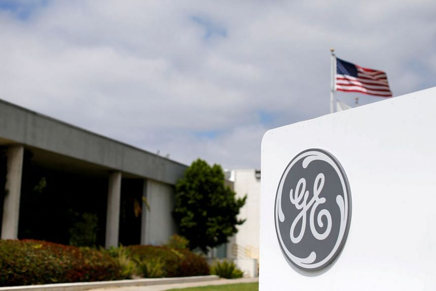 General Electric's logo is seen at subsidiary company GE Aviation in Santa Ana, California..