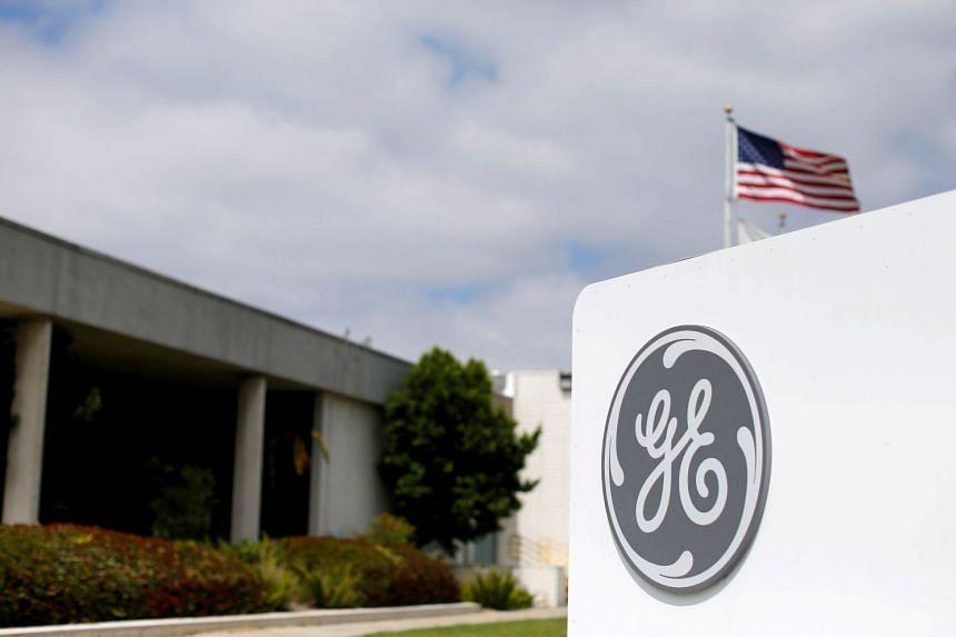General Electric's logo is seen at subsidiary company GE Aviation in Santa Ana, California..