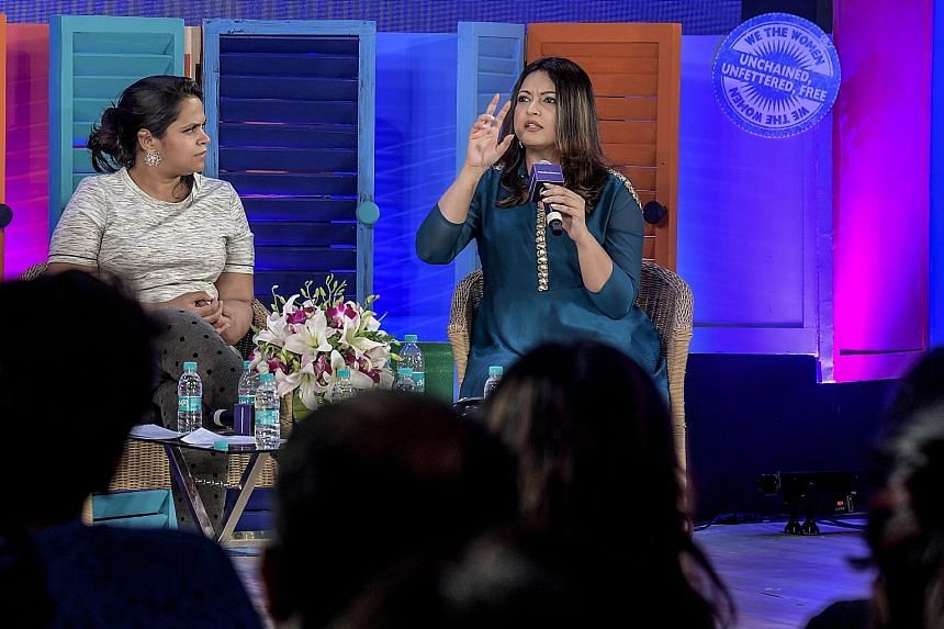 Journalist Sandhya Menon (left) and actress Tanushree Dutta speaking about sexual harassment at a conference titled We The Women. Ms Dutta recently accused actor Nana Patekar of behaving inappropriately on the set of a film they were shooting in 2008