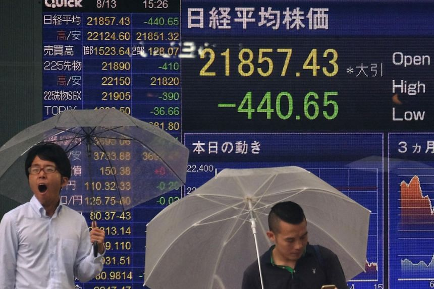 Japan's Nikkei sank 3.2 per cent in early trading, which would be the biggest daily drop since March.