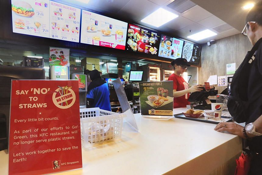 KFC had earlier announced that all its 84 Singapore branches would take part in the green initiative this year in an effort to save 17.9 tonnes of single-use plastics a year here.