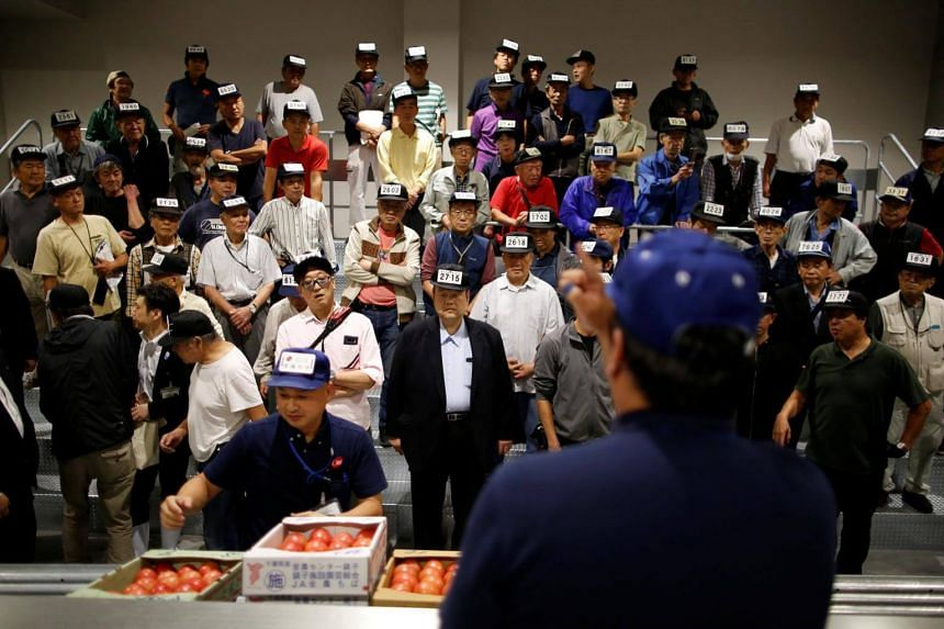 Wholesalers take part in an auction at the greengrocery area on the opening day of the new Toyosu market  in Tokyo, on Oct 11, 2018.