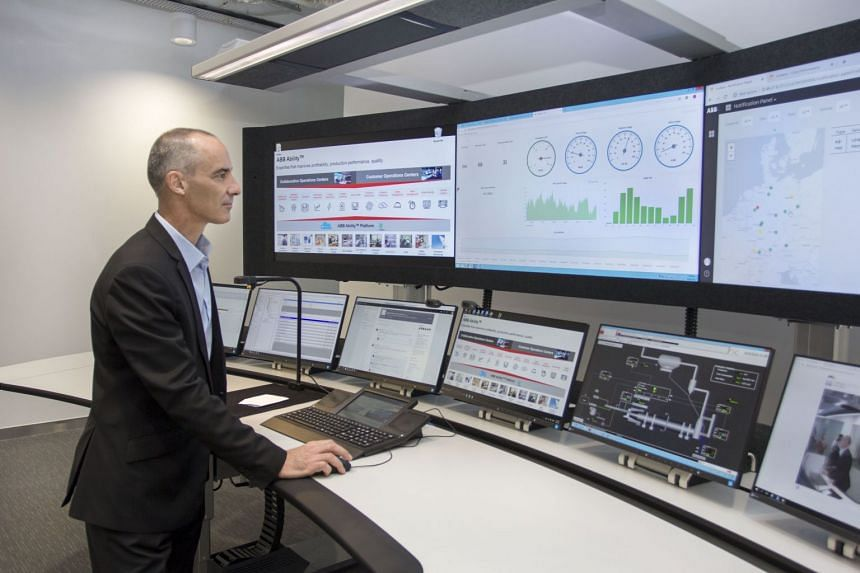 Mr Johan de Villiers, managing director of ABB in Singapore, in the company's new collaborative operations centre at its Ayer Rajah Crescent premises on Oct 11, 2018.