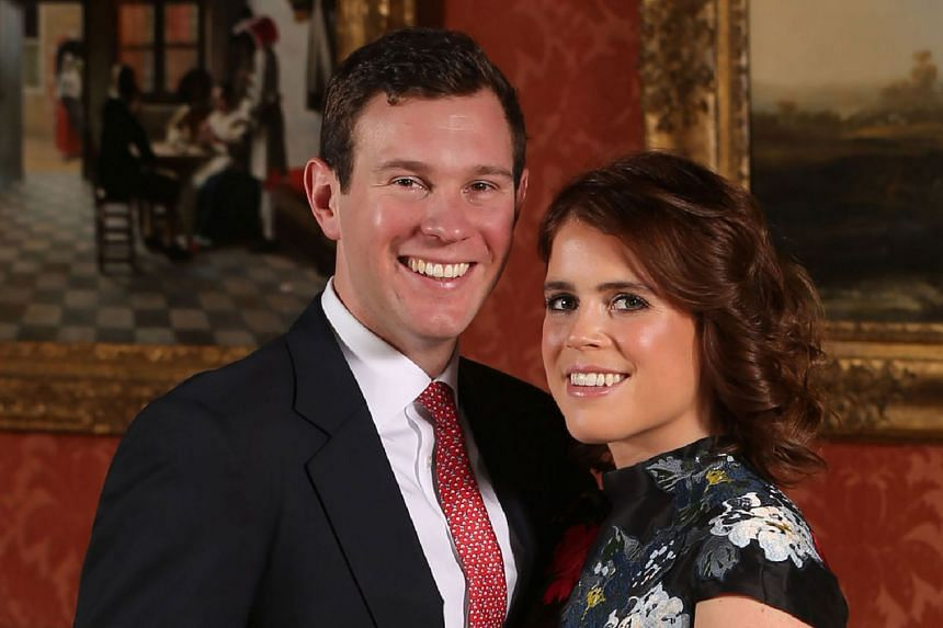 Britain's Princess Eugenie of York posing with fiance Jack Brooksbank at Buckingham Palace in January 2018.