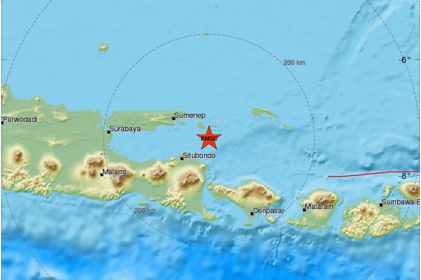 The quake's epicentre was in the Bali Sea around 40km off the eastern end of Java island.