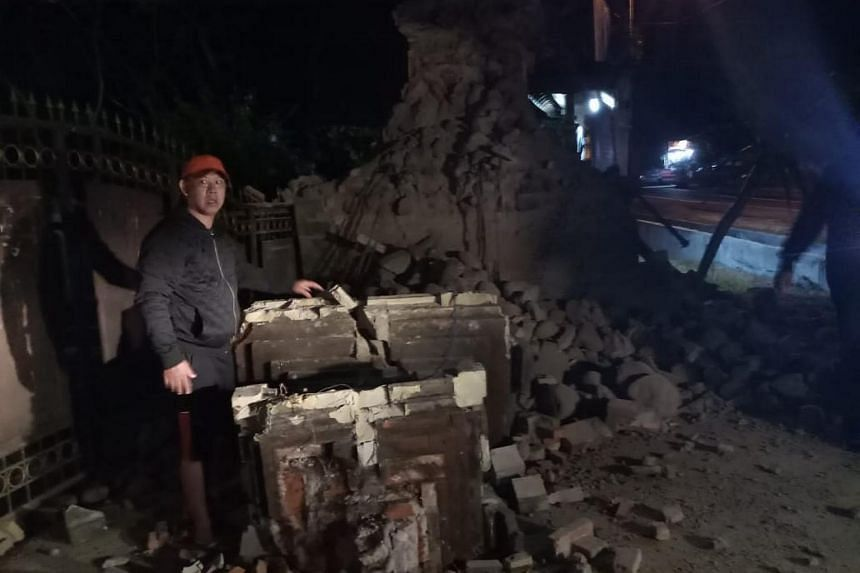 Three people were killed and houses were damaged after the earthquake struck off East Java province and Bali at around 2am on Oct 11, 2018.